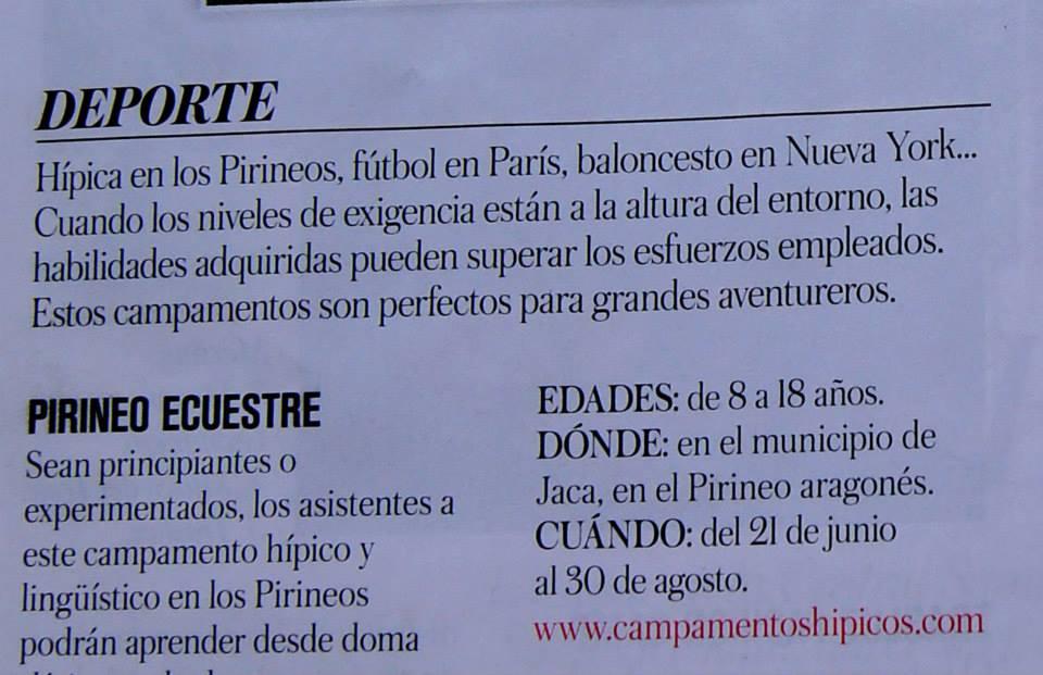 Campamentos hípico-lingüísticos de Pirineo Ecuestre en Vogue